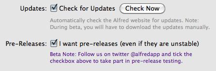 Alfred pre-release checkbox
