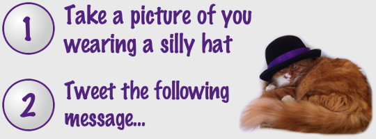1. Take a picture of you wearing a silly hat, 2. Tweet the following message: