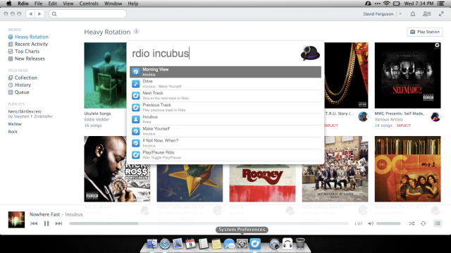 Rdio workflow in action in v2