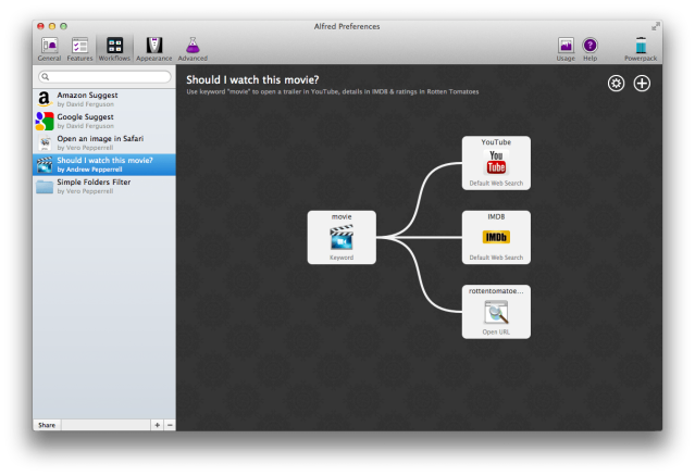 Workflows in Alfred v2